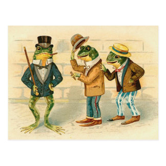 Frogs on the Street - Vintage Art Postcard