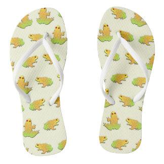 Frogs pattern flip flops