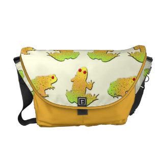 Frogs pattern messenger bag