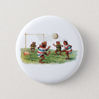 Frogs Playing Football Pinback Button