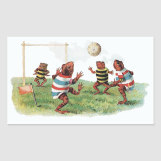 Frogs Playing Football Rectangular Stickers