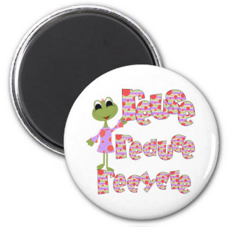 Frogs Reuse Reduce Recycle 2 Inch Round Magnet