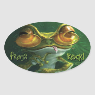 Frogs Rock with Attitude Oval Sticker
