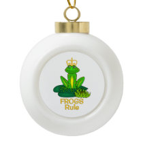 Frogs Rule Golden Crown Ceramic Ball Christmas Ornament