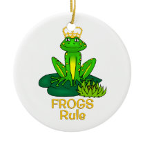 Frogs Rule Golden Crown Ceramic Ornament