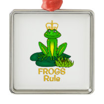 Frogs Rule Golden Crown Metal Ornament