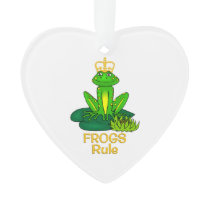 Frogs Rule Golden Crown Ornament