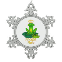 Frogs Rule Golden Crown Snowflake Pewter Christmas Ornament