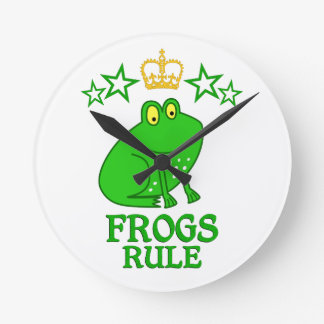 Frogs Rule Round Clock