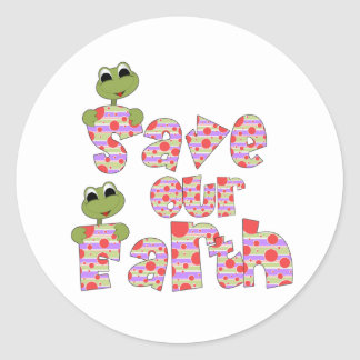 Frogs Save Our Earth Classic Round Sticker