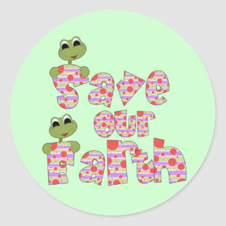 Frogs Save Our Earth T-shirts and Gifts Classic Round Sticker