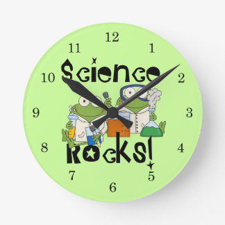 Frogs Science Rocks Round Clock