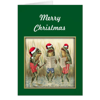 Frogs Singing Merry Christmas Card