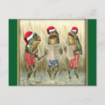 Frogs Singing Merry Christmas Holiday Postcard