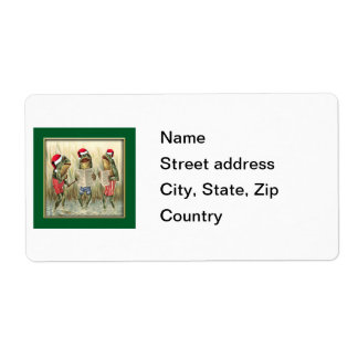 Frogs Singing Merry Christmas Shipping Label