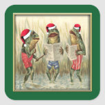 Frogs Singing Merry Christmas Square Sticker
