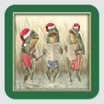 Frogs Singing Merry Christmas Stickers