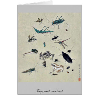 Frogs, snails, and insects stationery note card
