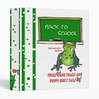 """Frogs Snails and Puppy Dog Tails Back To School 1"""" 3 Ring Binder"""