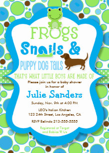Puppy baby shower invitations zazzle frogs snails puppy dog tails boy baby shower invitation filmwisefo