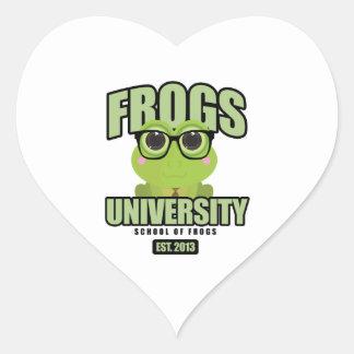 Frogs University Heart Sticker