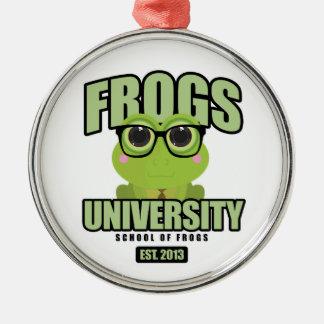 Frogs University Metal Ornament