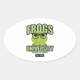 Frogs University Oval Sticker