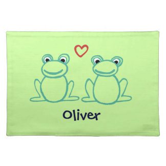 Frogs with Heart Cloth Placemat