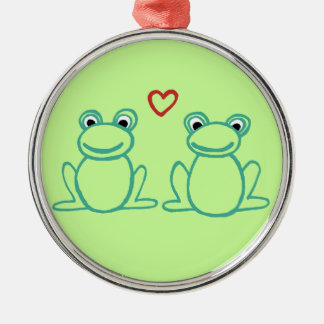 Frogs with Heart Round Metal Christmas Ornament