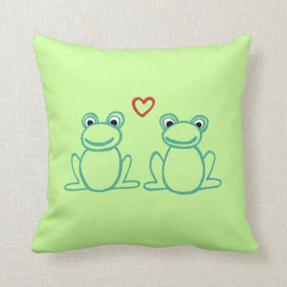 Frogs with Heart Throw Pillow