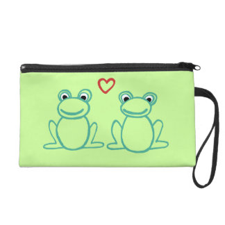 Frogs with Heart Wristlet Purse