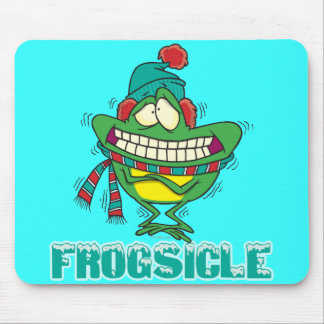 frogsicle funny frozen shivering frog mouse pad