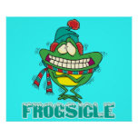 frogsicle funny frozen shivering frog print
