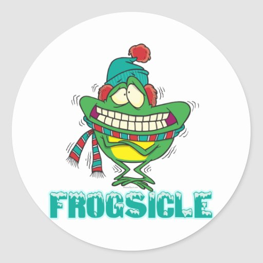 frogsicle funny frozen shivering frog sticker