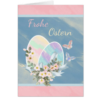 Frohe Ostern - alemán - huevos de Pascua del Tarjeta De Felicitación