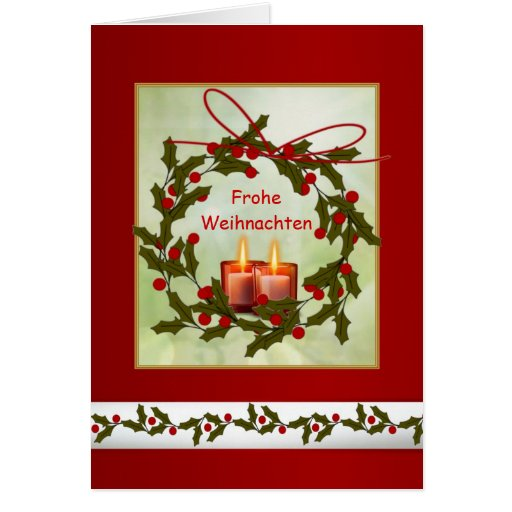 frohe weihnachten german christmas holly candle cards. Black Bedroom Furniture Sets. Home Design Ideas