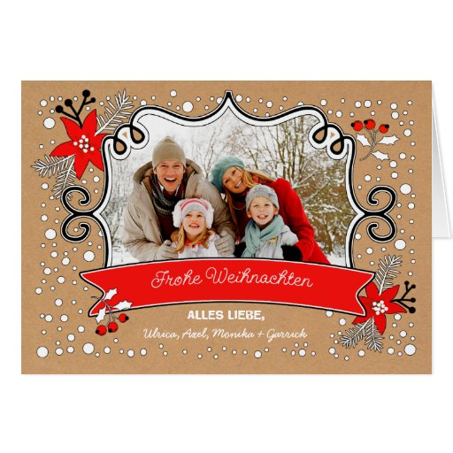 frohe weihnachten german christmas photo cards zazzle. Black Bedroom Furniture Sets. Home Design Ideas