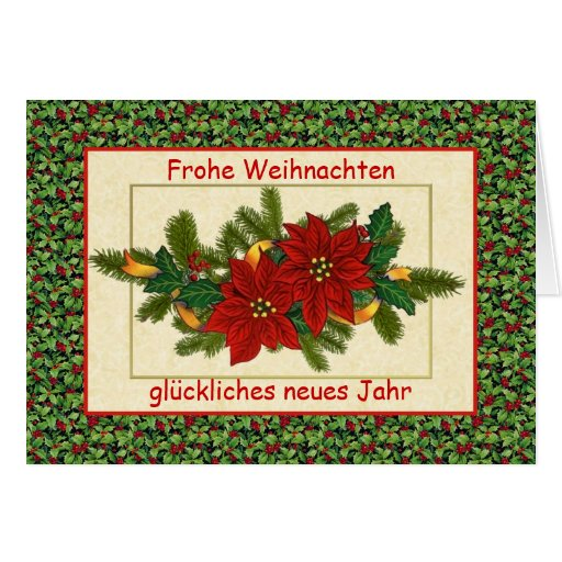frohe weihnachten german christmas poinsettia card zazzle. Black Bedroom Furniture Sets. Home Design Ideas