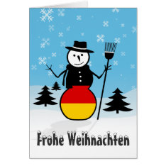 Frohe Weihnachten Merry Christmas Germany Snowman Card at Zazzle