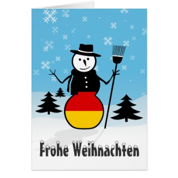 Frohe Weihnachten Merry Christmas Germany Snowman Card by DigitalDreambuilder at Zazzle