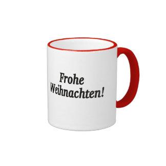 Frohe Weihnachten! Merry Christmas in German bf Ringer Mug