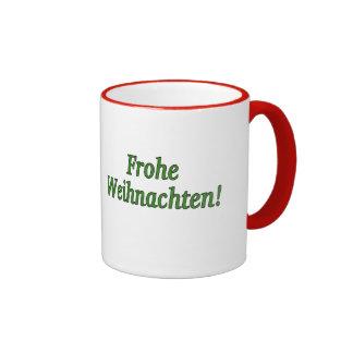 Frohe Weihnachten! Merry Christmas in German gf Ringer Mug