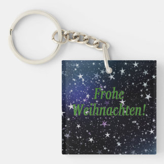 Frohe Weihnachten! Merry Christmas in German gf Single-Sided Square Acrylic Keychain