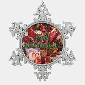 Frohe Weihnachten! Merry Christmas in German gf Snowflake Pewter Christmas Ornament