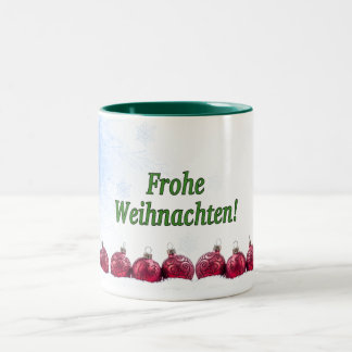 Frohe Weihnachten! Merry Christmas in German gf Two-Tone Coffee Mug