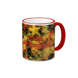 Frohe Weihnachten! Merry Christmas in German rf Ringer Mug