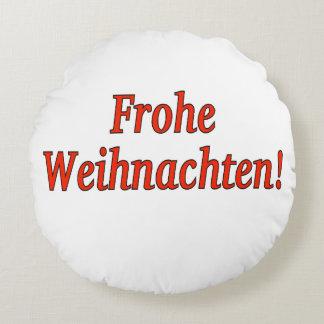 Frohe Weihnachten! Merry Christmas in German rf Round Pillow