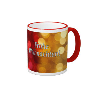 Frohe Weihnachten! Merry Christmas in German wf Ringer Mug