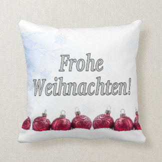 Frohe Weihnachten! Merry Christmas in German wf Throw Pillow