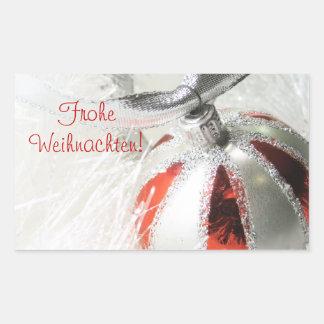 Frohe Weihnachten Ornament Design Rectangular Stickers